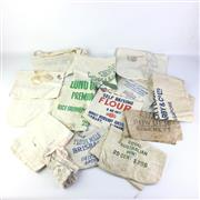Sale 8793 - Lot 6 - Collection of 15 Australian Flour Bags, mostly c1900-1930s, including Gillespies Anchor, Roller Flour Mills Brisbane