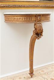 Sale 8902H - Lot 77 - A single pedestal demi lune marble top console table with carved and gilt base, Width 64cm Height 86cm