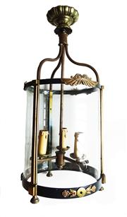 Sale 8912H - Lot 35 - A large vintage French wrought iron and copper wall lantern Height 95cm x Width 53 cm