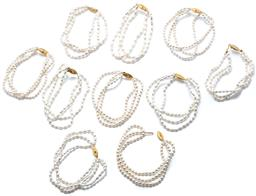 Sale 9046 - Lot 588 - TEN FRESHWATER PEARL BRACELETS; each of 3 rows of cultured oval and rice pearls to gold plated clasps, lengths, 19cm.