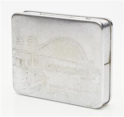 Sale 9123J - Lot 290 - A Silverplate hinged box with machine finish and Harbour Bridge dedication, width 8.5cm