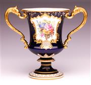Sale 9081 - Lot 26 - A Royal Crown Derby Twin Handled Urn with Gilt and Floral Decorations (H18cm)