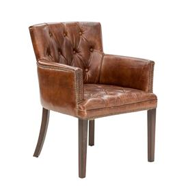 Sale 9134H - Lot 17 - A pair of aged button back leather armchairs with stud trim & brushed oak legs, Height 85cm x Width 68cm x Depth 64cm