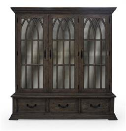 Sale 9140F - Lot 8 - Hardy Interiors original design. A large gothic style display cabinet with 3 doors & 3 drawers in Driftwood Brown. Made from pine & ...
