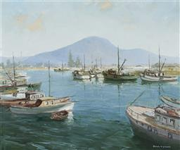 Sale 9180A - Lot 5057 - FRANK SPEARS (1920 - 1987) Wollongong Harbour oil on board 49.5 x 59.5 cm (frame: 69 x 80 x 4 cm) signed lower left