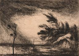 Sale 9256A - Lot 5111 - JULIUS KOMJATI The Storm drypoint etching ed. 20/45 (laid on card, unframed) 21 x 28.5 cm (board: 29 x 39.5 cm) signed lower right