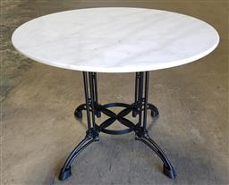 Sale 9255 - Lot 1105 - Waterproofed round marble top table (h:75 dia:100cm)