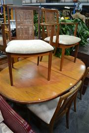 Sale 8013 - Lot 1052 - G Plan Table & Set of 6 Chairs with Rattan Backs