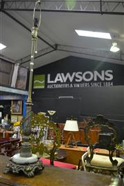 Sale 8105 - Lot 1055 - Brass & Marble Standard Lamp w Another