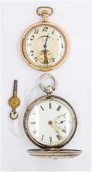 Sale 8265 - Lot 342 - TWO POCKET WATCHES; a rolled gold open face Elgin with white dial, Arabic numerals, subsidiary seconds on a 15 jewell movement, C -...