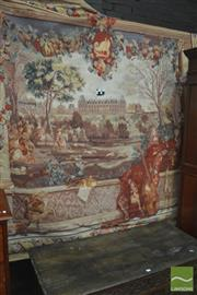 Sale 8291 - Lot 1066 - Adorabella Monceau Tapestry, of a rabbit chase before a French chateaux, the scene framed by columns and fruit festoons