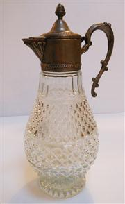 Sale 8362A - Lot 1 - A vintage French cut glass and silver plate wine decanter, Ht: 32 cm
