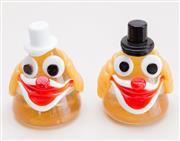 Sale 8369A - Lot 95 - A pair of Murano glass clown heads, H 10cm
