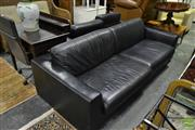 Sale 8500 - Lot 1263 - Pair of 2 and 3 Seater Lounges in Black Leather