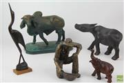 Sale 8529 - Lot 138 - Possibly Bronze Gold Digger Figure together With Other Figures Incl Buffalos And Bird