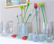 Sale 8593A - Lot 66 - A group of sundry glasswares including vases, flowers and candle holders, various sizes
