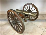Sale 8730B - Lot 3 - Decorative Brass Cannon on Timber Base with Decorative Accessories L: 84cm