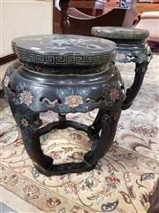 Sale 8792 - Lot 1060 - Pair of Chinese Black Lacquer Pedestals, of basic drum form with lobed tops, carved with flowers & birds & highlighted in colour