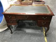 Sale 8805 - Lot 1060 - Cedar Reproduction Desk with Green Leather Tooled Top & Five Drawers on Cabriole Legs, Manufactured by Weatherby & Montague circa 1965