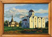 Sale 9016 - Lot 2011A - Artist Unknown Monastery Scene oil painting, 35 x 48cm (frame) inscribed verso -