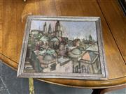 Sale 9082 - Lot 2093 - Artist Unknown European Townscape 1981oil on board 23.5 x 28.5cm (framed) signed verso