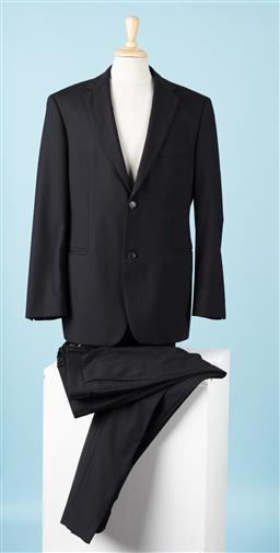 Sale 9092F - Lot 6 - A HUGO BOSS BERTOLUCCI BLACK STRIPED SUIT; Jacket & Pants, Size 50 (Wool with Rayon Lining)