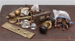Sale 9160H - Lot 86 - A group of assorted vintage hardwares including doorknobs, lock plates, handles, hinges, and chain