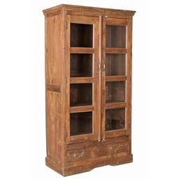 Sale 9216S - Lot 66 - A vintage teak and glass display cabinet with two doors and one drawer, Height 177cm x Width 95cm x Depth 44cm