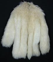 Sale 7982B - Lot 113 - Cream Mongolian lambswool jacket with satin liner and clip fasteners (M)