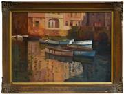 Sale 8325A - Lot 88 - Mary Troy (1889 - 1973) - Floating Barges, Venice 49 x 72cm