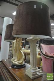 Sale 8323 - Lot 1081 - Pair of Column Form Base Table Lamps with Suede Shade