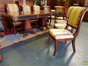 Sale 8566 - Lot 1420 - Inlaid Dining Suite with Table and 8 Chairs (220 x 110 x 78)