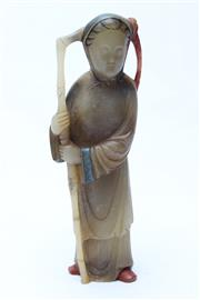 Sale 8729 - Lot 29 - Carved Hibiscus Stone Figure Of A Lady