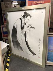 Sale 8807 - Lot 2092 - Chinese School, Portrait of a Scholar, pencil, 109 x 89cm (frame), inscribed lower
