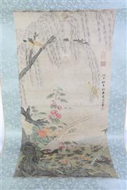 Sale 8926A - Lot 622 - Chinese Scroll Depicting Flowers and Peacock