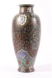 Sale 9015 - Lot 7 - A Ceramic Cloissone Design Vase (H:41cm) together with a small gilt lidded container