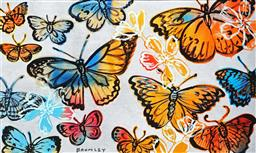 Sale 9150 - Lot 515 - DAVID BROMLEY (1960 - ) - Butterflies 77 x 126 cm (frame: 83 x 134 x 3 cm)