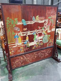 Sale 9102 - Lot 1177 - Chinese Carved & Coloured Lacquer Panel Screen, the panels in four sections slotting into each other, the obverse carved with ladies...
