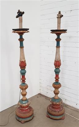 Sale 9151 - Lot 1052 - Pair of painted turned timber parlour floor lamps (h:158cm)