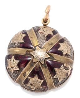 Sale 9160 - Lot 341 - AN ANTIQUE ENAMELLED GOLD LOCKET PENDANT; 22mm wide segmented dome adorned with 7 stars to red enamelled ground (chipped, losses) to...