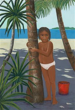 Sale 9214 - Lot 587 - DIANA CROOKE (1954 - ) Boy under Palm Tree pastel and oil stick 67 x 46.5 cm (frame: 96 x 76 x 3 cm) signed lower right