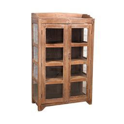Sale 9216S - Lot 48 - A rustic vintage teak and glass display cabinet, Height 160cm x Width 98cm x Depth 46cm