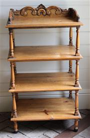 Sale 7379B - Lot 64 - A Pine Etagere in the French Taste with carved Gallery back and turned supports. 117 x 60 x 45cm