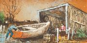 Sale 8449A - Lot 502 - Ric Elliot (1933 - 1995) - Boat Shed 12 x 25cm