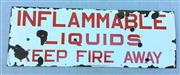 Sale 8579 - Lot 81 - A vintage enamel Shell Inflammable Liquids sign. Marked Shell Co of Australia with general wear commensurate with age, H 38 x L 107cm