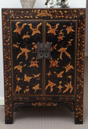 Sale 8677B - Lot 840 - A pair of Chinese lacquered bedsides with two doors, shelved interior, with butterfly decoration H x 84.5cm, W x 60cm, D x 38cm