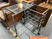 Sale 8896 - Lot 1029 - Metal Teal Trolley with Glass Shelves