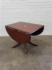Sale 9080 - Lot 1097 - Mahogany drop side table with brass claw feet (H:74 W:91 D:65cm)