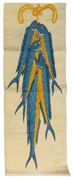 Sale 9130S - Lot 62 - A tapestry entitled The wall painting of Thera, detail from The Fisherman 1997 Height 216.5cm Width 79.5cm, 96/9 woven by the Vi...