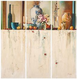 Sale 9214 - Lot 574 - JUDITH DALLOZO By Your Window (triptych) oil on canvas 120 x 120 cm (total) signed lower left, inscribed and titled verso, Red Hill ...